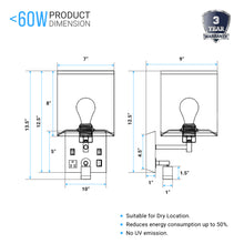 "Load image into Gallery viewer, Wall Sconce Lighting, Black Metal Finish with White Fabric Shade, Dimension: W7""*xH13.5""xE9"", With LED 1W 1usb+2switchs+1outlet"