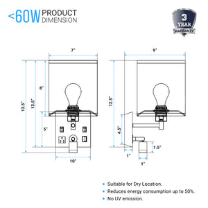 "Wall Sconce Lighting, Black Metal Finish with White Fabric Shade, Dimension: W7""*xH13.5""xE9"", With LED 1W 1usb+2switchs+1outlet"