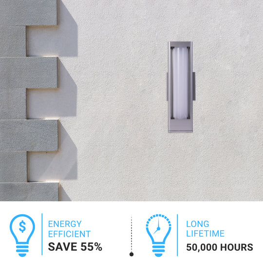12W Modern LED Outdoor Wall Light Fixture, Silver FInish, Dimmable, ETL Listed - Wet Location