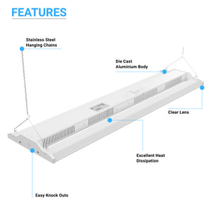 4ft - 300W LED Linear High Bay Light - 5700K - Clear Cover