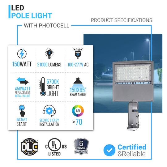150W LED Pole Light With Photocell Products Specifications