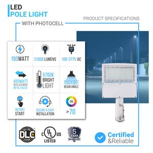 150W LED Pole Light with Photocell Product Specifications