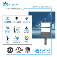 Load image into Gallery viewer, 300W LED Pole Light With Photocell Product specifications