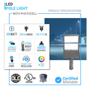 300W LED Pole Light With Photocell Product specifications
