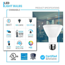 LED PAR20 Light Bulb 8 Watt 500 Lumens - 3000K - High CRI90+