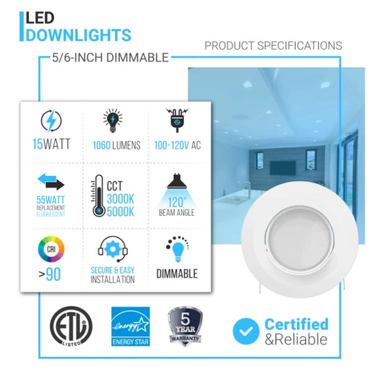 5/6-inch LED Eyeball Dimmable Downlight, 15W, Recessed Ceiling Light Fixture