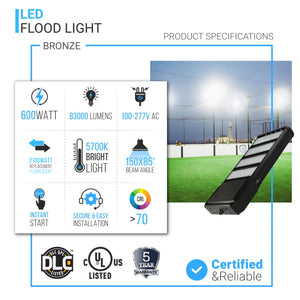 600W LED Flood Light, 2100 Equivalent, 5700K, 83000LM, Bronze, UL DLC Listed, With U-Bracket