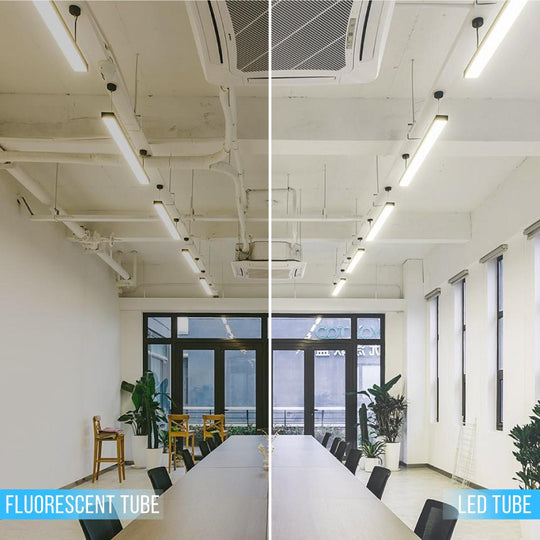 Hybrid T8 4ft LED Tube Light Glass 18W 2400 Lumens 6500K Clear (Check Compatibility List; Not Compatible with all ballasts)
