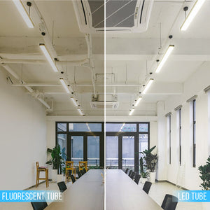T8 4FT LED Glass Tubes, 18W 6500K, Single Ended Power, Frosted, 4 FT LED Bulbs No Ballast