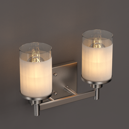 Cylinder Shape Bathroom Vanity Lights with Frosted Glass Shades, 2-Light/3-Light/4-Light, Bathroom Light Fixtures