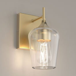 Clear Glass Shade Vanity Lights Fixture, Bell Shape with Brass Gold Finish, E26 Base, UL Listed for Damp Location, Bathroom Wall Sconces