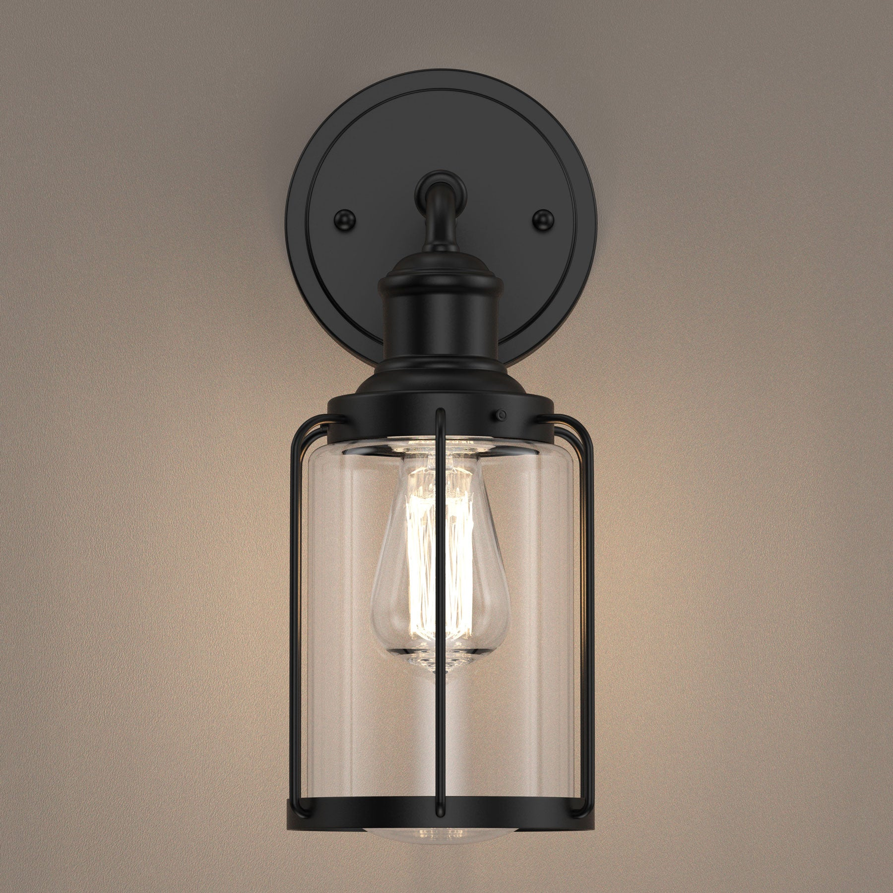 Birdcage Shape Vanity Light Fixture Matte Black With Clear Glass Shad Ledmyplace