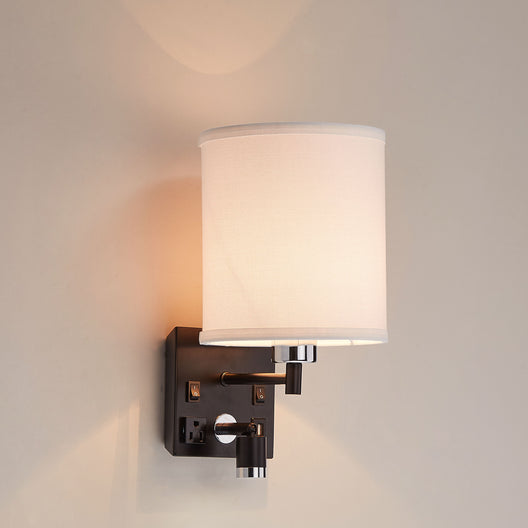 Wall Sconce Lighting, Black Metal Finish with White Fabric Shade, Dimension: W7