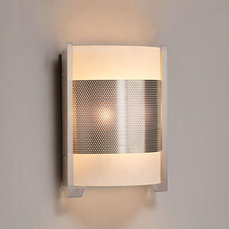 2-Light Brushed Nickel Wall Sconce, White Glass shade, Dimension: W10