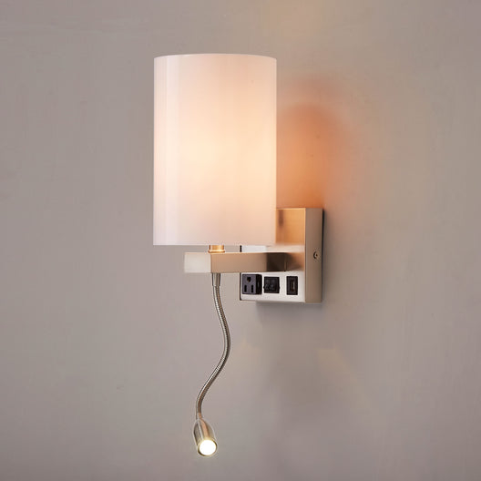 Modern LED Acrylic Sconces Wall Lighting, Brushed Nickel Finish, With LED 1W 1usb+1 Switch+1outlet