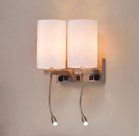 Double Head Acrylic Wall Sconce, Brushed Nickel Finish, With LED 2*1W+1 usb+2 switches+2 outlet