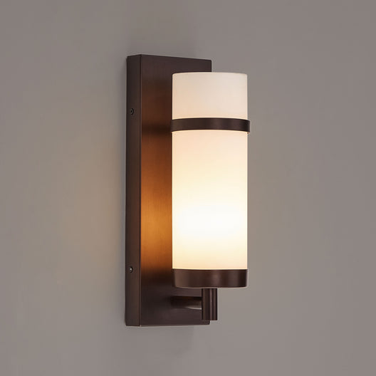 Oil Rubbed Bronze/Satin Nickel Finish Wall Lamps with White Glass shade, Dimension: W4.5