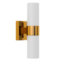 2-Lights, Wall Sconce with White Glass Shade, Brushed Brass Finish, Dimension: L13.5