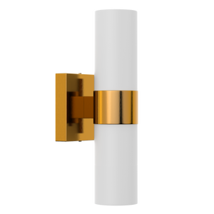 "2-Lights, Wall Sconce with White Glass Shade, Brushed Brass Finish, Dimension: L13.5""xW4.45""xE5"""