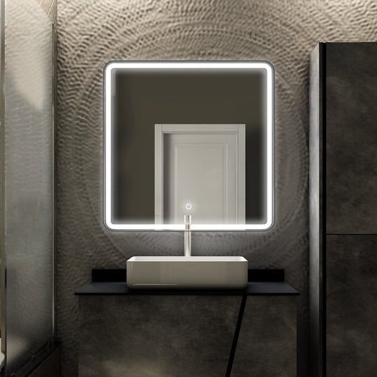 LED Lighted Shelf Mirror, Touch Switch, Defogger and CCT Remembrance, Raven Style