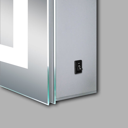 LED Lighted Bathroom Mirror Medicine Cabinet, Double Sided Mirror, On/Off Switch, Hector Style