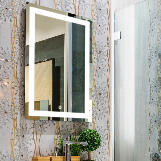 "LED Bathroom Lighted Mirror 24"" X 36"" Lighted Vanity Mirror Includes Defogger, Inner Window Style"