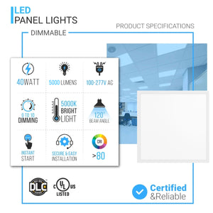2X2 LED Panel Light 4000K, 40W AC100-277V, DLC Listed and Dimmable