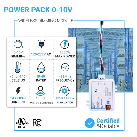 Power Pack 0-10V Wireless Dimming Module,120-277V, 10A Build-in Relay