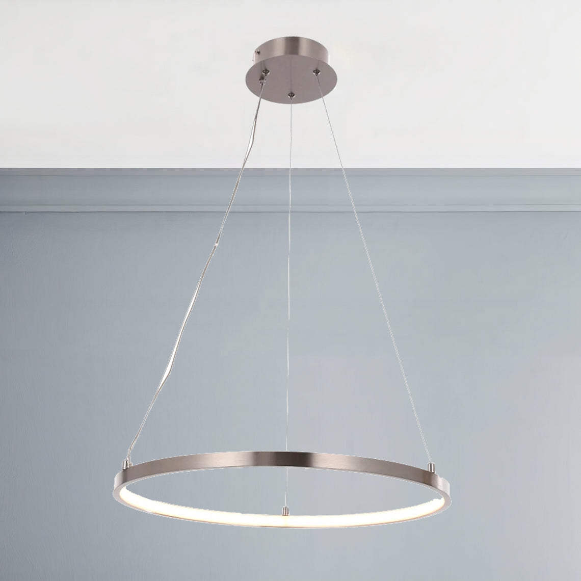 30W Round LED Pendant Light, Brushed Nickel Finish, Dimmable, 3000K (Warm White), 2900 Lumens, ETL Listed