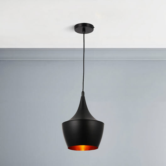 Matte Black Pendant Light Fixture, Guard style, E26 Base, Steel Body, UL Listed