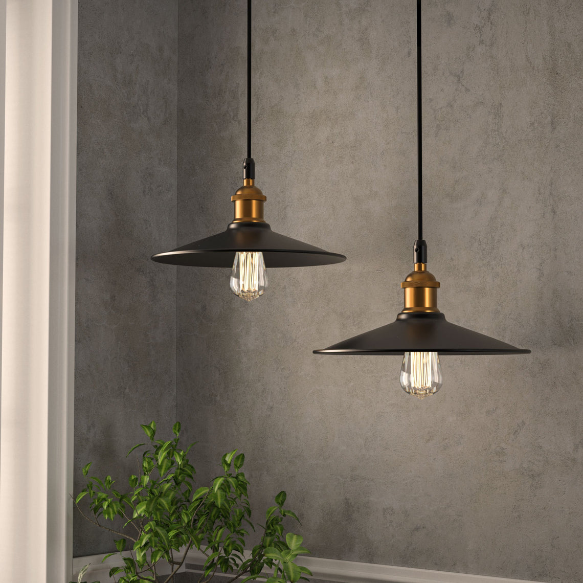 Industrial Style Matte Black Pendant Light Fixture, E26 Base, Antique Brass and Matte Black Finish, UL Listed