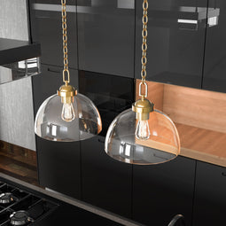 Dome Shape Brass Gold Pendant Light with Clear Glass Shade, E26 Base, UL Listed for Damp Location