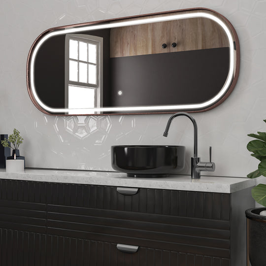 26 X 63 Inch LED Lighted Dressing Mirror with Rose Gold Frame, Touch Sensor Switch and CCT Remembrance, Realx Style