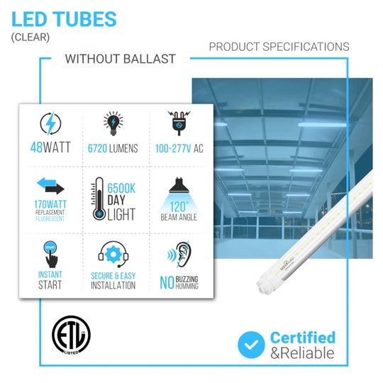 T8 8ft 48W R17D LED Tube Light 6720 Lumens 6500K Clear