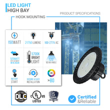 Load image into Gallery viewer, High Bay LED Light 150W UFO 5700K - Warehouse Lighting 20,098 Lumens