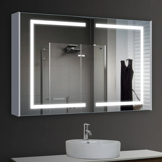 LED Lighted Bathroom Mirror Cabinet, Double Sided Mirror, On/Off Switch, Benign Style
