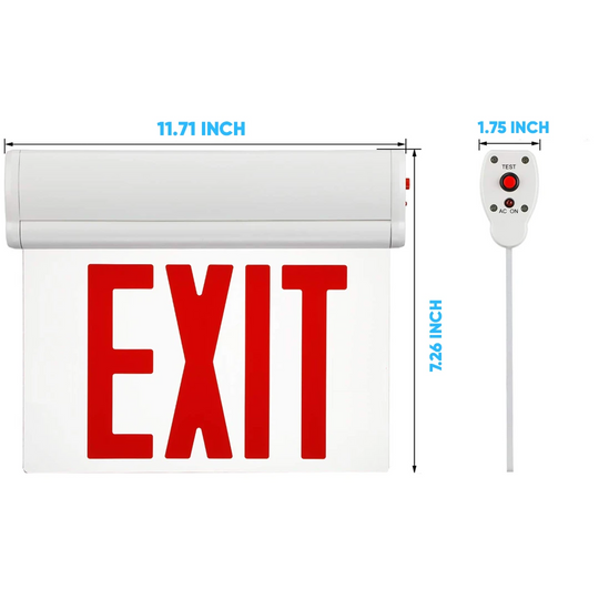 Edge Lit Red LED Exit Sign, 3W , Red, UL,CUL Listed, AC120-277V, Surface Mount, 90-min Battery Backup