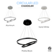 Load image into Gallery viewer, 2-Ring, Circular LED Chandelier, 60W, 3000K, 2800LM, Dimmable, 3 Years Warranty