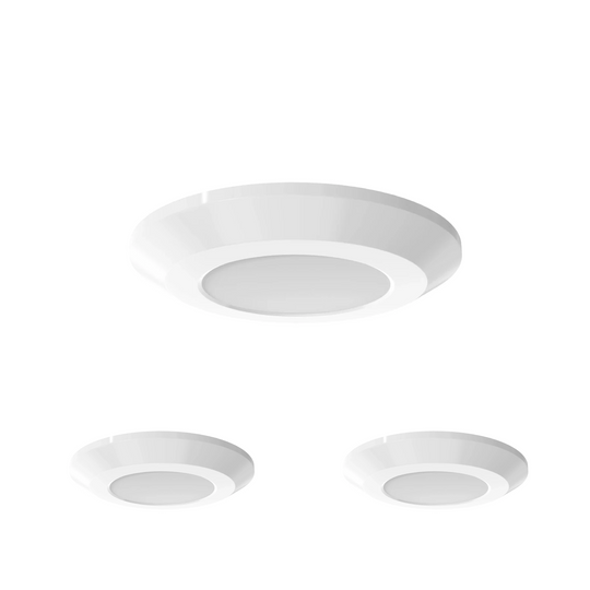 Slim LED Puck Light, 3-Piece Kit , With 12V Adaptor & Wave Sensor Dimming , 3x3.5Watts, 600 Lumens , CCT Changeable (3000K/4000K/5000K), White Trim
