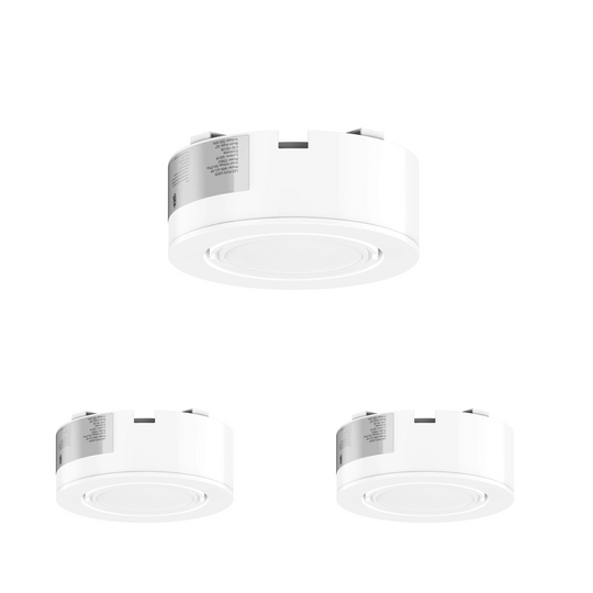 LED Puck Light 3-Piece Kit Direct Plug-In, Dimmable, 3x3.5 Watts, 420 Lumens, White Trim
