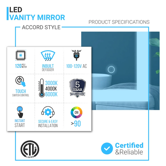 Backlit/Front LED Illuminated Bathroom Mirror with Touch Switch Control, ETL Certified, Defogger, CCT Remembrance, Accord Style