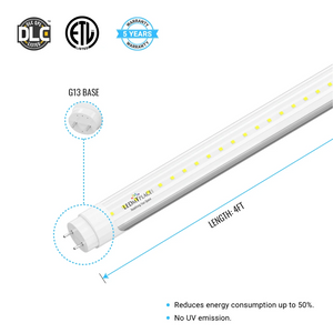 T8 4 foot LED Light Fixture 22W 3080 Lumens 5000K Clear Single Ended Power, 4ft LED Light Bulbs