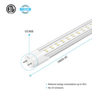 Load image into Gallery viewer, T8 4ft 22W LED Tube Light, 2-Row LED Tube, 6500K Clear Dual Ended Power