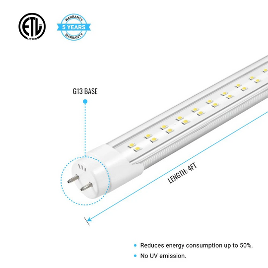 T8 4ft 22W LED Tube Light, 2-Row LED Tube, 6500K Clear Dual Ended Power