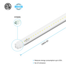 Load image into Gallery viewer, T8 8ft 48W R17D LED Tube Light 6720 Lumens 6500K Clear