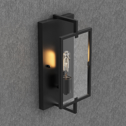 Matte Black Wall Sconce Light, UL Listed for Damp Location, E26 Base, 3 Years Warranty