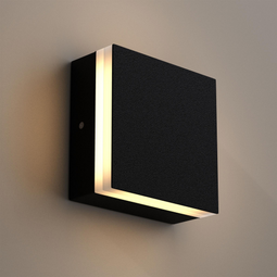 Modern Square Wall Sconce, 9W, 3000K, 338LM, CRI: 80+, Dimmable, Dimension: 6.7 x 2.1 x 6.7 Inch