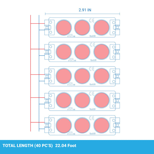 40-Pack, Red LED Modules for Illuminating Signs or Channel Letters, SMD 2835, 3LED/Mod, DC12V, 0.72W, IP65