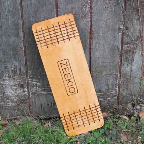 "Zeekio Matrix Rolla Bolla Balance Board - Stained Wood with Etched Grid - 29"" Juggling Prop with Roller"