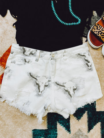 THE SKULLY DENIM SHORTS